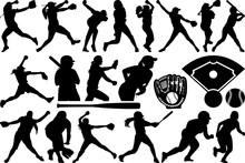Softball SVG Cut Files   Softball Silhouette   Softball Bundle   Softball Player Svg