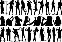 Singer SVG Cut Files | Singing People Silhouette Bundle