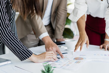 Hand Of Team, Group Young Businessman,businesswoman People Working Marketing Plan,discussing On Paperwork With Teamwork,colleagues At Office,workplace.Brainstorm Business Concept.
