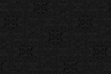 Geometric Volumetric Convex Black Background. Ethnic African, Mexican, Indian Motives. 3d Embossed National Colorful Pattern.Trendy Craft Style For Wallpaper.