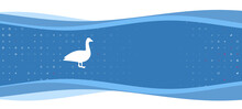 Blue Wavy Banner With A White Goose Symbol On The Left. On The Background There Are Small White Shapes, Some Are Highlighted In Red. There Is An Empty Space For Text On The Right Side