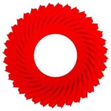 Red Circular Pattern On A White Background.