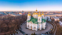 Aerial Top View To St. Nicholas Naval Sea Cathedral In Sunny Day. Panorama Of Evening Historical City Center. Orthodox Church Located On Banks Of Kryukov And Griboyedov Canal. Saint Petersburg. Russia
