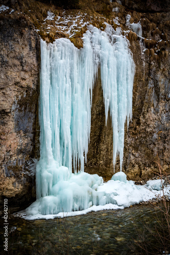 Frozen cascades of the Chegem waterfalls. North Caucasus, Kabardino-Balkaria, Elbrus, Russia. Wall mural