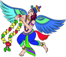 Wall Painting Of Flying Gandharva, God's Servant.