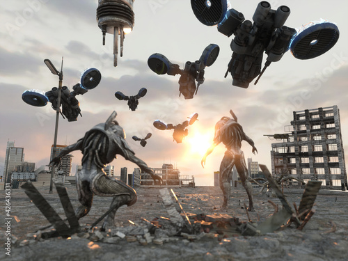 Canvas alien invasion concept attack of aliens 3d render