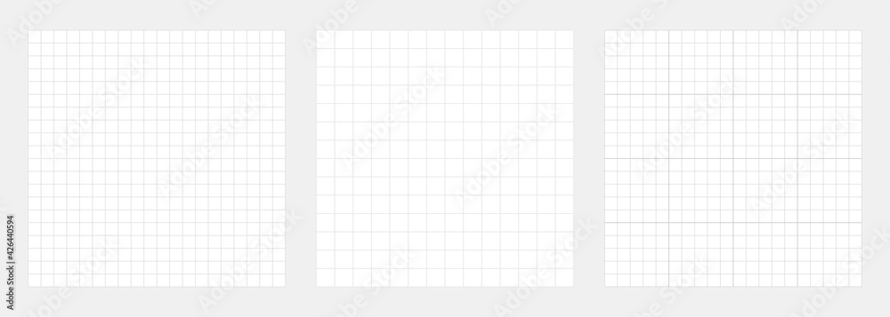 Fototapeta White grid backgrounds collection. Checkered backdrop of map. Grid paper banner. Printable geometric design elements. Notebook paper. Technical architect blank. Graph sketch. Vector illustration