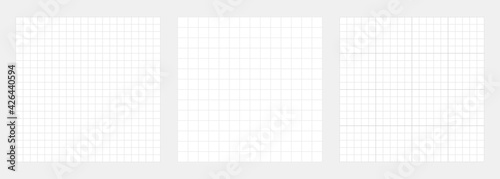 White grid backgrounds collection. Checkered backdrop of map. Grid paper banner. Printable geometric design elements. Notebook paper. Technical architect blank. Graph sketch. Vector illustration