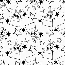 Seamless Doodle Pattern World Circus Day. Ornament For Printing On Postcards, Wallpaper, Paper, Souvenirs, Fabrics And Children's Products. Rabbit In A Hat. Hare In A Top Hat