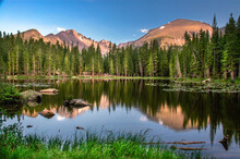 Dream Lake At Sunset Showing Lake With Mountains And Reflections, Rocky Mountain National Park,