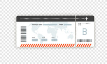 Flight Paper Boarding Pass Vector Mockup Isolated On Transparent Background
