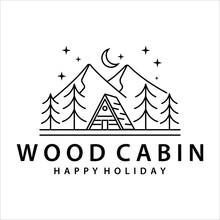 Cabin Or Cottage Line Art Logo Vector Illustration Template Icon Design