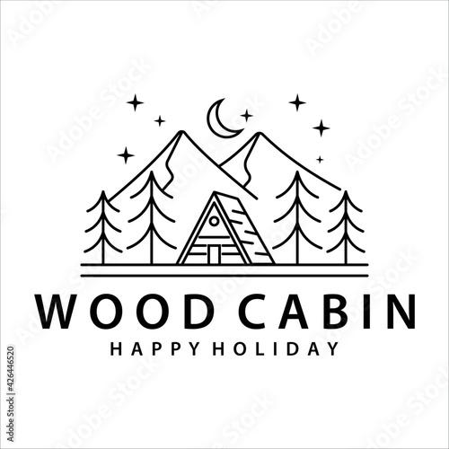 Fototapeta cabin or cottage line art logo vector illustration template icon design