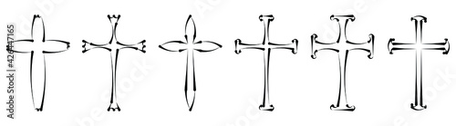 Fotografie, Obraz Vector collection of black ink or paint religion or faith cross symbol set isolated on white background