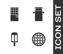 Set Homemade Pie, Chocolate Bar, Ice Cream And Can Container For Milk Icon. Vector
