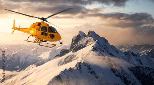 Yellow Helicopter flying over the Rocky Mountains during a sunny and dramatic sunset Fototapet