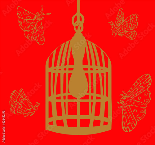Silhouette of moths flying around birdcage shaped lampshade. Fototapet