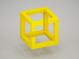 Fototapeta Konie - Popular optical illusion with paradoxical yellow cube over light gray background. 3d