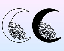 Vector Crescent Moon With Flowers. Decorative Illustration In Boho Style. Hand-drawn Ethnic Symbol. For Paper And Laser Cutting, Printing On T-shirts, Mugs. Black Mystical Element For Your Design.