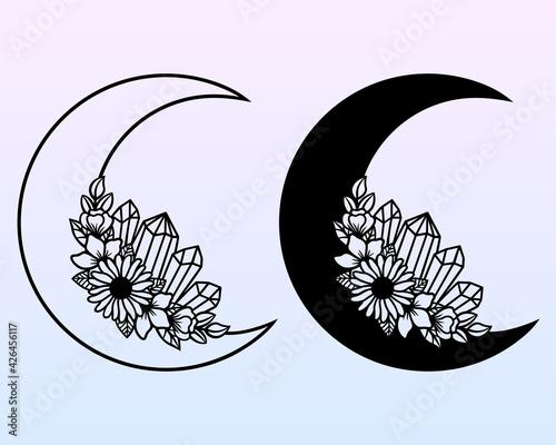 Obraz na plátně Vector crescent moon with flowers