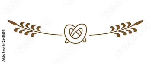 Fotografie, Obraz Flat pretzel icon with decorative spikelets on transparent background