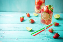 Strawberry Lime Fresh Cocktail In A Glass