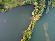 Lake Water With Island, Summer Landscape, Aerial View