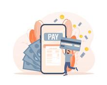 Mobile Payment People. Flat Isometric Vector Illustration. Qr Code, Mobile Device. Bank Online. Vector Illustration Design.