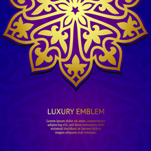 Decorative Gold And Purple Background. Luxury Pattern Template. Vector Abstract Design Elements. Great For Invitation And Greeting Cards, Packaging, Flyer, Wallpaper Or Any Desired Idea. Asian Ornamen