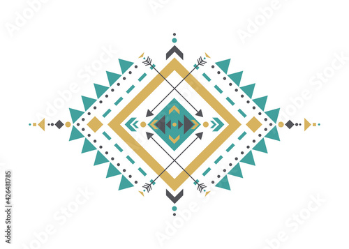 Colorful Mexican Aztec tribal traditional geometric logo design isolated on white background. Sacred Alchemy elements, esoteric bohemian sacred geometry. Magic indian tribal vector illustration