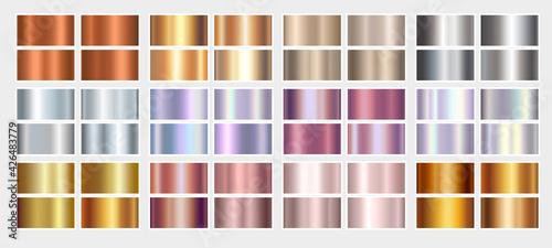 Fotografie, Obraz Gold rose, silver, holographic, bronze, copper and golden foil texture gradation background set
