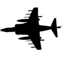 Detailed Vector Illustration Of An British Military Royal Air Force, Navy Aircraft The Harrier Jump Jet From McDonnell Douglas AV-8b. Realistic Silhouette Vertical Take-Off And Landing Harrier Jet.