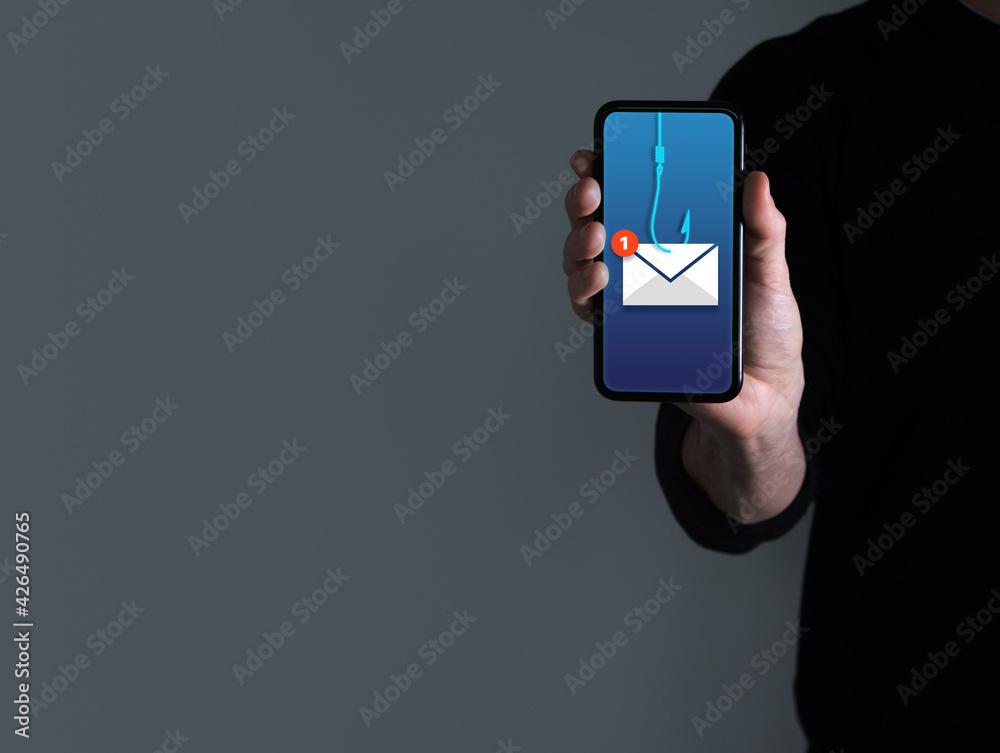 Fototapeta Phishing bait alert concept on a smartphone screen