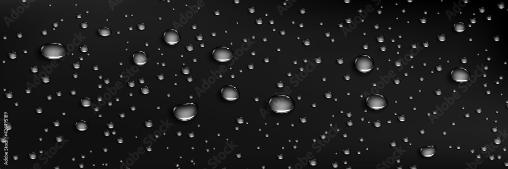 Fototapeta Condensation water drops on dark background. Rain droplets at window glass. Realistic dew, condensate from shower steam or fog. Vector 3d illustration of wet black surface with aqua drops