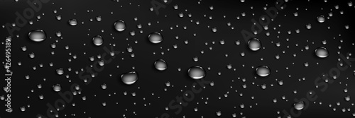 Condensation water drops on dark background. Rain droplets at window glass. Realistic dew, condensate from shower steam or fog. Vector 3d illustration of wet black surface with aqua drops