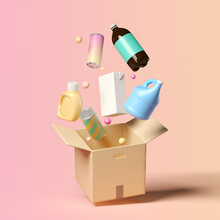 Minimal Background For Online Shopping And Digital Marketing Concept. Delivery Box And Grocery On Pink Background. 3d Rendering Illustration. Clipping Path Of Each Element Included.