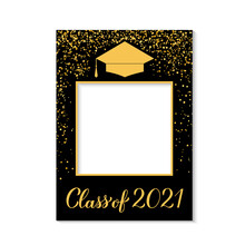 Class Of 2021 Photo Booth Frame Graduation Cap Isolated On White. Graduation Party Photobooth Props. Grad Celebration Selfie Frame. Vector Template