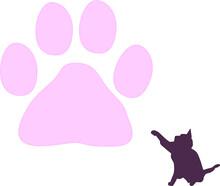 大きな肉球とじゃれ合う可愛い猫「シルエット」