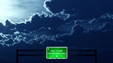 4K Passing Roma Ciampino Italy Airport Highway Sign At Night With Matte 2