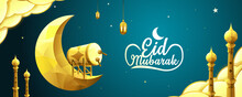 Eid Mubarak Vector Illustration With Crescent Moon, Drum, Cloud, Tower And Lantern In Golden Color On Blue Gradient Background.