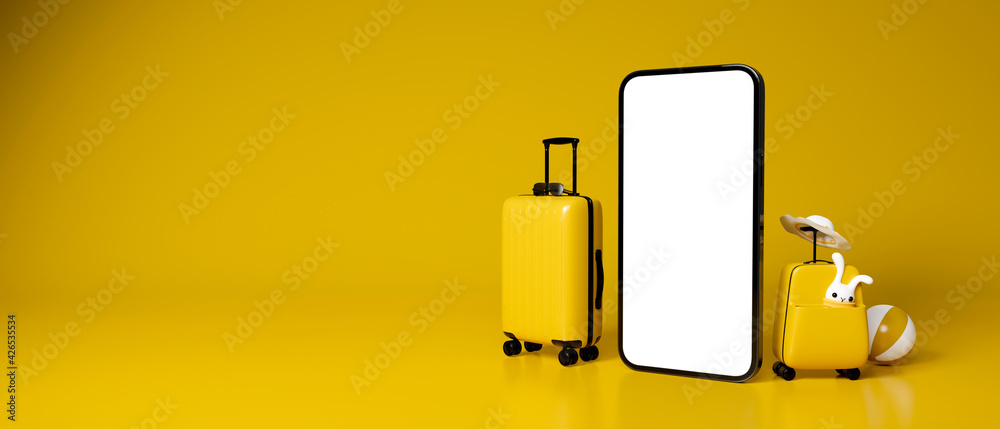 Fototapeta 3D rendering, two yellow baggages with travel accessories and mock up smartphone in yellow background with copy space