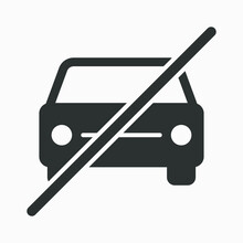 Crossed Car Icon. No Vehicles Allowed Sign. Vector Illustration.