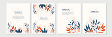 Design Poster For Social Media With Floral Flower And Leaf Element Shape. Background With Blue Orange Brown And Red Abstract Floral Art