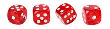Red Dice Isolated On White Background. Full Depth Of Field.