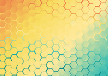 Abstract Blue And Orange Gradient Hexagon Background Vector