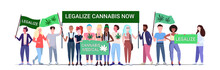 Mix Race People Holding Legalize Cannabis Now Protest Poster Medical Marijuana Legalization Drugs Consumption Concept Horizontal Full Length