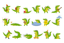 Cute Green Crocodile Engaged In Different Activities Vector Illustration Set