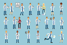 Man And Woman Doctors Wearing Medical Uniform And Stethoscope Checking X-ray Photograph And Consulting Patient Vector Illustrations Set