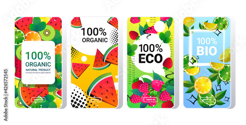 natural healthy organic product fresh food online mobile app smartphone screens set different fruits background copy space horizontal
