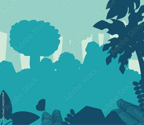 Fotografiet silhouette forest trees